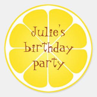 Pegatinas amarillos del sello del favor de fiesta pegatina redonda