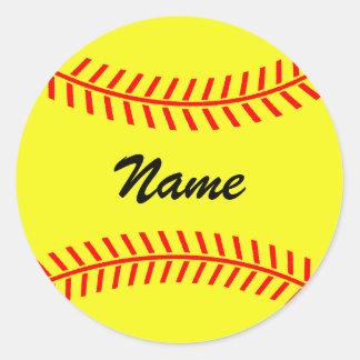 Pegatinas amarillos personalizados del softball pegatina redonda