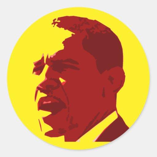 Pegatinas amarillos y rojos de Barack Obama del Pegatina Redonda