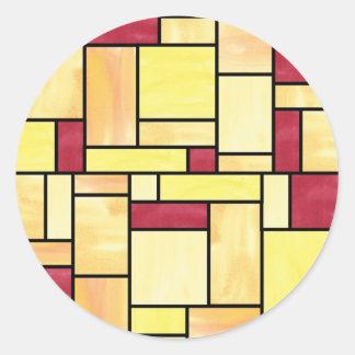 Pegatinas amarillos y rojos del vitral etiquetas redondas