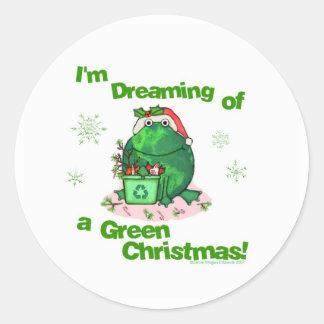 Pegatinas ambientales de la rana del navidad verde pegatina redonda