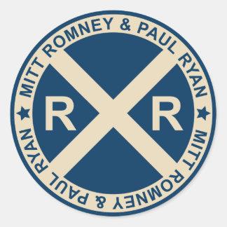 Pegatinas americanos de los cruces de Romney Ryan Pegatina Redonda