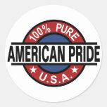 Pegatinas americanos del orgullo del 100% etiquetas redondas