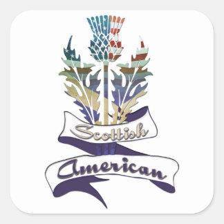 Pegatinas americanos escoceses del cardo pegatina cuadrada