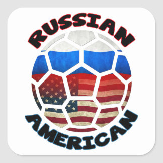 Pegatinas americanos rusos del balón de fútbol calcomania cuadradas