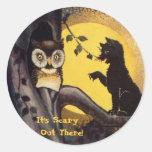 Pegatinas amonestadores de Halloween del búho del Etiqueta Redonda