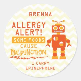 Pegatinas anaranjados de la alarma de la alergia pegatina redonda