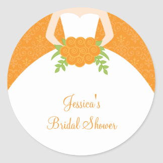 Pegatinas anaranjados de la novia del damasco pegatina redonda