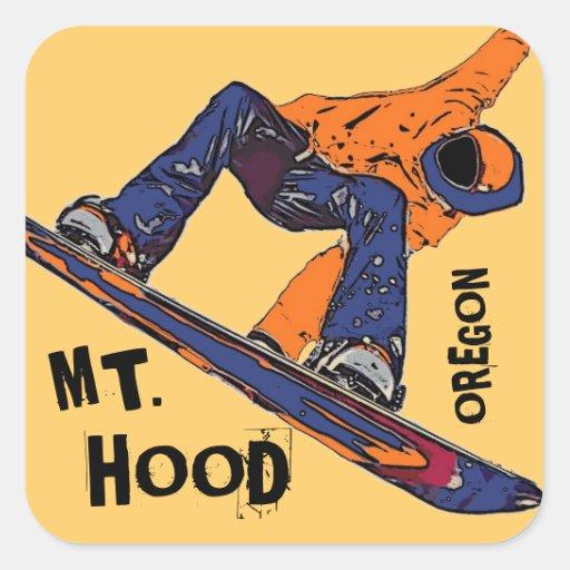Pegatinas anaranjados de la snowboard de Oregon de Pegatina Cuadrada