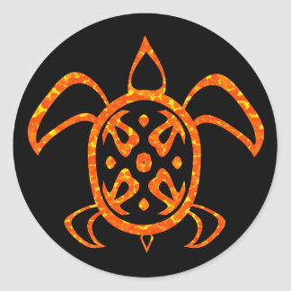 Pegatinas anaranjados de la tortuga pegatinas redondas