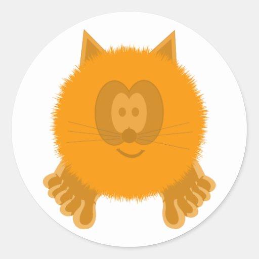Pegatinas anaranjados de Pom Pom PAL del gato Pegatina Redonda