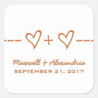 Pegatinas anaranjados del boda de la ecuación del