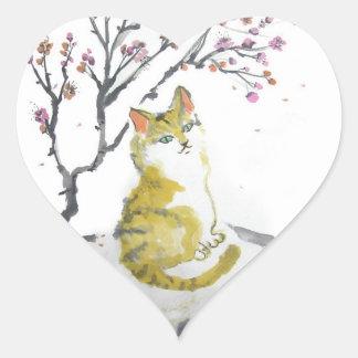 Pegatinas anaranjados del corazón del gato de Tabb Pegatina De Corazón Personalizadas
