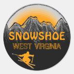 Pegatinas anaranjados del esquí de Virginia Etiqueta Redonda