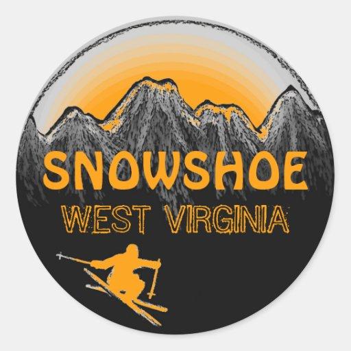 Pegatinas anaranjados del esquí de Virginia Occide
