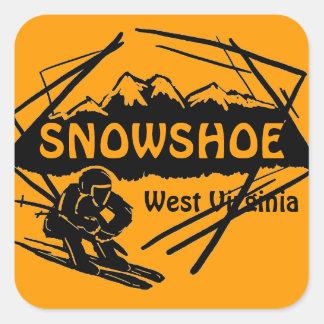 Pegatinas anaranjados del logotipo del esquí de pegatina cuadrada