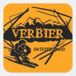 Pegatinas anaranjados del logotipo del esquí de calcomanía cuadradas