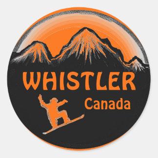 Pegatinas anaranjados del snowboarder de Canadá de Pegatina Redonda