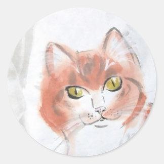 Pegatinas anaranjados del Tabby Etiquetas Redondas