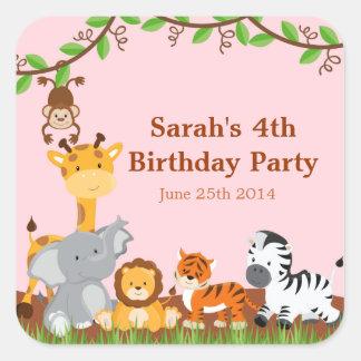 Pegatinas animales del cumpleaños del chica de la