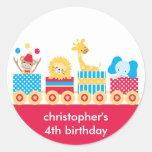 Pegatinas animales del cumpleaños del tren del etiquetas redondas