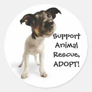 Pegatinas animales del rescate de la ayuda