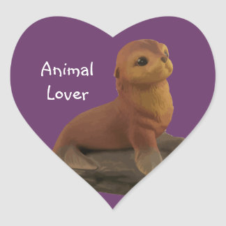Pegatinas animales del sello del amante pegatina en forma de corazón
