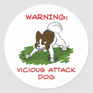 Pegatinas anteados del perro de ataque pegatinas redondas