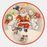 Pegatinas antiguos de Santa y de la gente de la Etiqueta Redonda