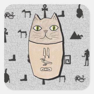 Pegatinas antiguos del gatito de Canopic del Pegatina Cuadrada