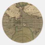 Pegatinas antiguos del mapa del mundo