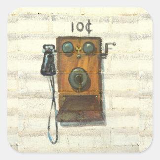 pegatinas antiguos del teléfono de la pared pegatina cuadrada