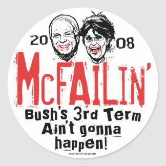 Pegatinas antis de McCain Palin McFailin Etiquetas Redondas
