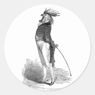 Pegatinas antropomorfos del gallo de Grandville Pegatina Redonda