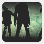 Pegatinas apenados de la apocalipsis del zombi pegatinas cuadradases personalizadas