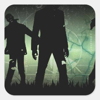 Pegatinas apenados de la apocalipsis del zombi pegatina cuadrada