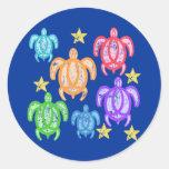 Pegatinas apenados de las tortugas del arco iris pegatinas redondas