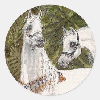 Pegatinas árabes del caballo de la arboleda de la pegatina redonda