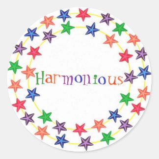 Pegatinas armoniosos, en los círculos de estrellas pegatina redonda
