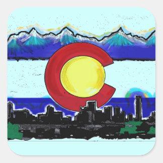 Pegatinas artísticos del horizonte de Denver de la