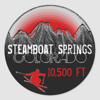 Pegatinas artsy del rojo del esquí de Steamboat Pegatina Redonda