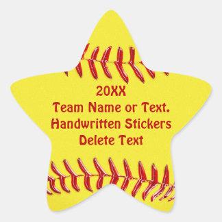 Pegatinas asteroides del softball su texto o pegatina en forma de estrella
