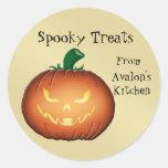 Pegatinas asustadizos de la hornada de Halloween Etiqueta Redonda