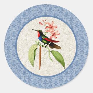 Pegatinas atados de oro del colibrí del zafiro etiqueta redonda