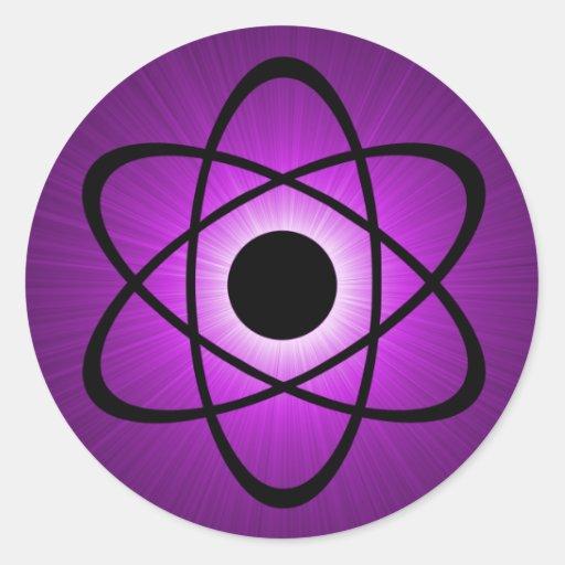 Pegatinas atómicos Nerdy, púrpuras Pegatinas Redondas