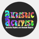 Pegatinas autísticos del activista (color) etiquetas redondas
