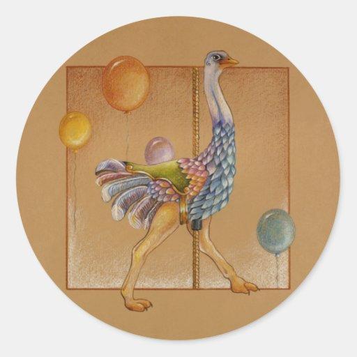 Pegatinas - avestruz del carrusel pegatina redonda