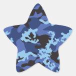 Pegatinas azules de encargo de Camo Pegatina En Forma De Estrella