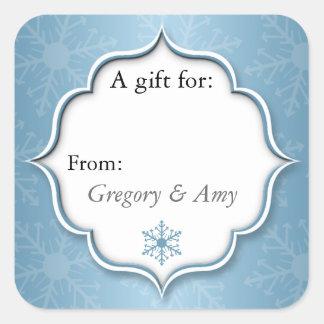 Pegatinas azules de la etiqueta del regalo de
