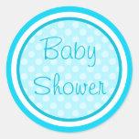 Pegatinas azules de la fiesta de bienvenida al beb